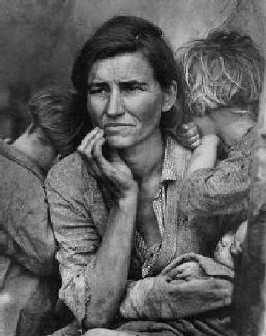 Dorothea Lange 1936 Photograph titled 'Migrant Mother' in honor of women and children that suffered in the great depression.
